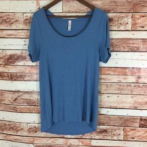LuLaRoe Womens GiGi Shirt Top Solid Blue XL Ribbed